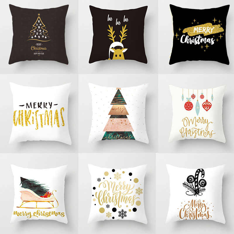 1pc 45*45cm Merry Christmas Pillow Cover Gold Letter Polyester Cushion Cover Throw PillowCase New Year Xmas Party Home Sofa Deco
