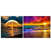 Set of 2 Diamond Painting Kit for Adult Full Drill Paint with Diamonds Pictures Arts Craft for Home Decor Gift,Sunset Beach(China)