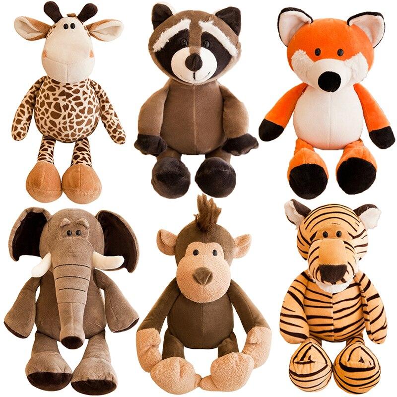 25cm sevimli doldurulmuş hayvanlar peluş oyuncak fil zürafa rakun tilki aslan kaplan maymun köpek peluş hayvan yumuşak oyuncaklar çocuklar için hediyeler