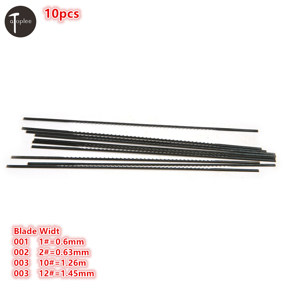 New 10PCS 1# 0.6mm,2# 0.63mm,10# 1.26mm,12# 1.45mm Tooth Scroll Saw Blades Woodworking Metal Stone Saw Power Tools