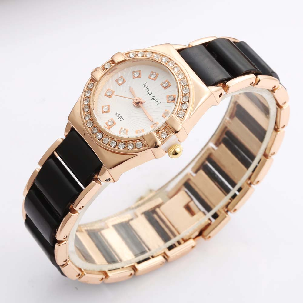 Black Watches Women Fashion Quartz Wristwatches Crystal Imitation Ceramic relogio feminino bayan kol saati
