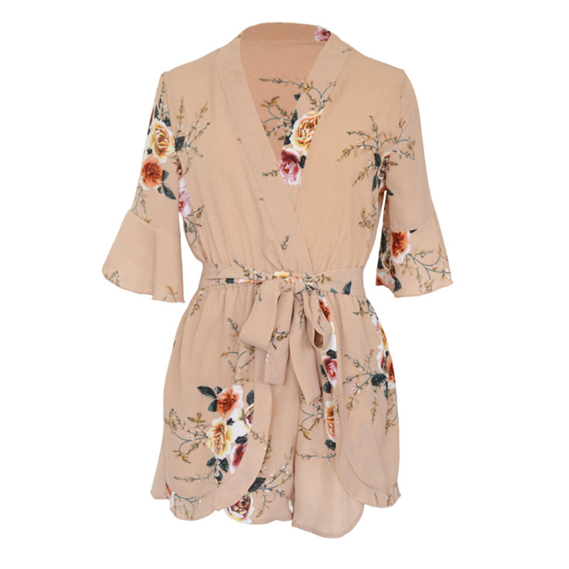 Summer With Boho Sexy Fashion Jumpsuit Women Print 2020 V Neck Playsuits Overalls Bow Bohemian Casual Rompers Shorts Floral