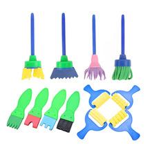 12 sztuk zestaw DIY gąbka pędzle malarskie narzędzia dzieci dzieci szczotka rolkowa zestaw zabawek dla domu wczesna edukacja rzemiosło artystyczne dostaw tanie tanio Sponge Painting Brush Plastic +EVA+ sponge Children