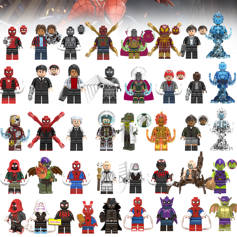 Super Heroes Building Blocks Far From Home Spider-man Spiderman Mysterio Bricks Legoeings Minifigured Toys For Children Dolls