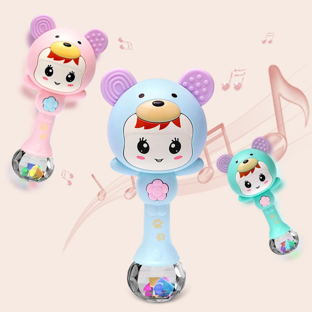 LED Glowing Hand Rattle Music Sand Hammer Soft Teether Development Baby Toy Rattle Plastic Hand Bell Intelligence Grasping Balls