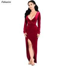 купить Velvet Maxi Long Party Dress Women Winter 2019 New Long Sleeve Sexy V Neck Bandage Bodycon Split Dress Elegant Red Party Dress дешево