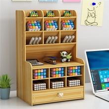 Pencil-Organizer Pen-Holder Stand-Case Stationery-Storage Desk Pen Multi-Function Wooden