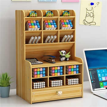 Multi-function Wooden Desktop Pen Holder Office School Stationery Storage Stand Case Desk Pen Pencil Organizer 1