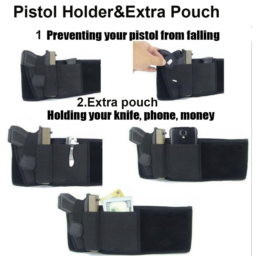 Tactical Gun Holster Concealed Belly Band Universal Right-hand Invisible Coldre Elastic Waist Pistol Holster Girdle In Stock