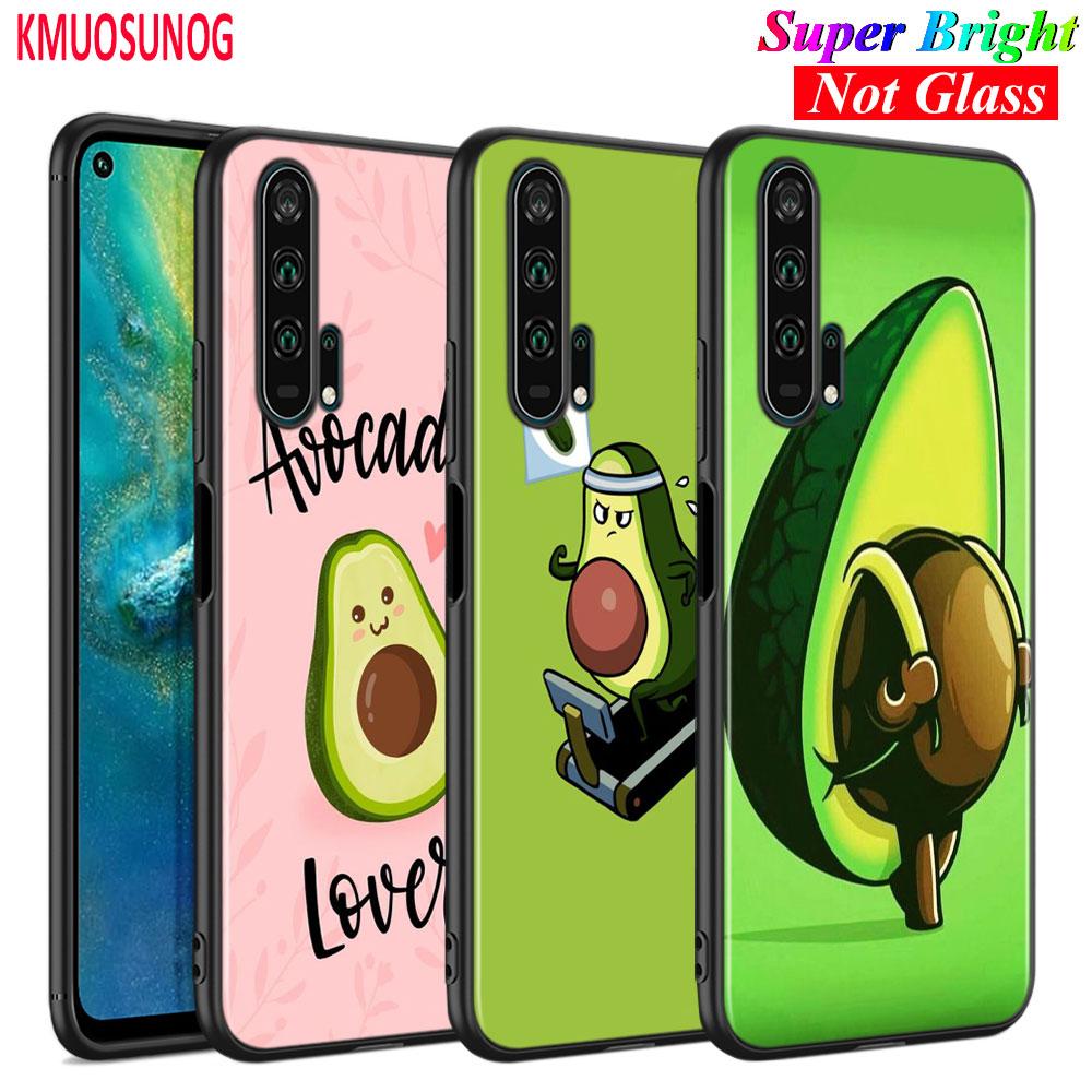 Capa de silicone preta bonito abacate frutas para huawei honor 10i 9x 8x 20 10 9 8 8a 7a pro lite caso telefone