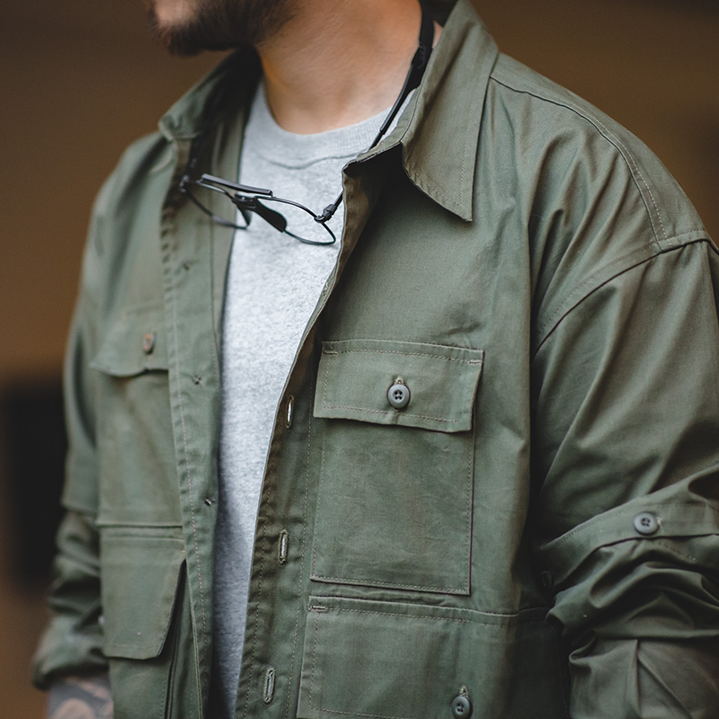 Maden Men's Retro Army Green Detachable Sleeve Shirt Vintage Big Pocket Shirt Men