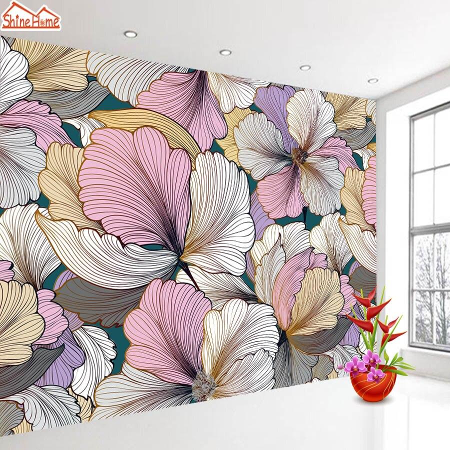 Papier peint Photo personnalisé rouleau rose fleur 3d fonds décran pour salon papier peint papiers décor à la maison vinyle Mural TV espace toile de fond