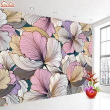 Photo Wallpaper Backdrop Mural Flower Roll Custom Living-Room Vinyl Home-Decor 3d