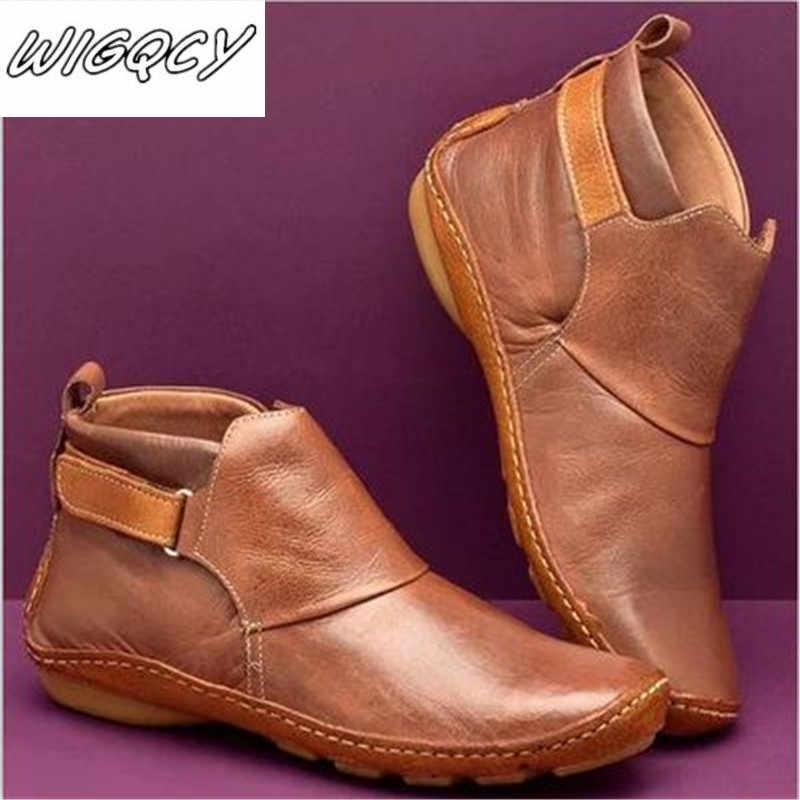 Kadın kış kar botları hakiki deri ayak bileği bahar yumuşak düz ayakkabı kadın kısa kahverengi çizmeler 2019 kadın Slip-on çizmeler