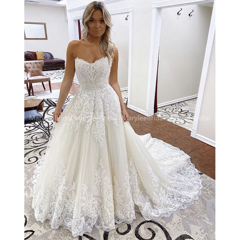 Chic White Ivory Vestido De Noiva 2020 New Design A Line Robe De
