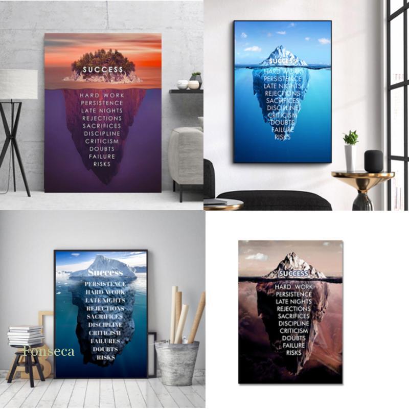 Современные украшения для дома элементы успеха настенные картины 1 шт. буквенные картинки художественный холст постер для учебы прикроватн...
