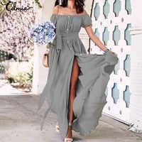 2019 vestido bohemio Celmia verano Mujer volantes largo Maxi vestido Sexy sin hombros botones fiesta Vestidos de talla grande vestido de verano