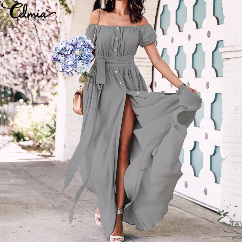 2020 Bohemian Dress Celmia Summer Women Ruffle Long Maxi Dress Sexy Off Shoulder Buttons Party Vestidos Mujer Plus Size Sundress
