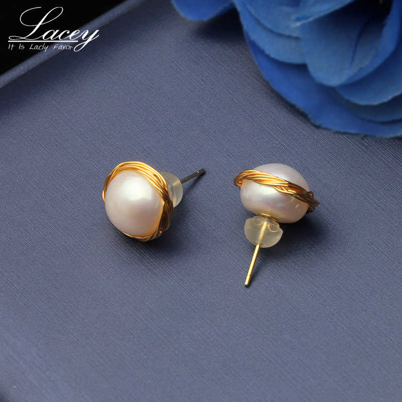 Luxury handmade natural freshwater baroque pearl earring gold plated S925 pin wedding earring