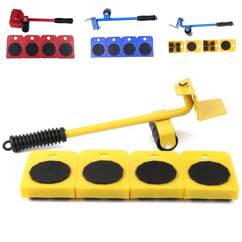 Hot 5Pcs Professional Furniture Transport Lifter Tool Set Heavy Stuffs Moving Hand Tools Set Wheel Bar Mover Device