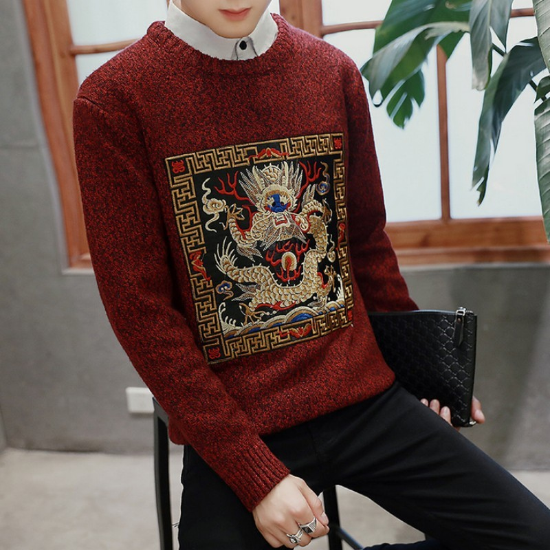 Fashion Personality Chinese Embroidery Mens O Neck Large Size M-5XL Knitted Sweater Pullover Casual Slim Fit Pull Hommes