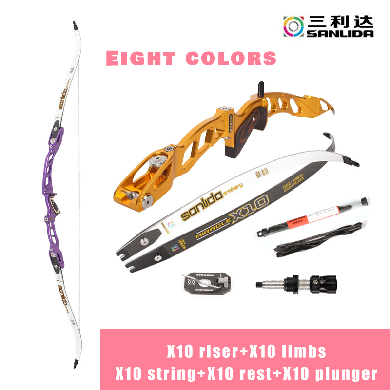 Sanlida Miracle X10 High-End Target Recurve Bow ILF Riser Carbon Limbs With Bow Rest And Plunger Outdoor Barebow Shooting Sports