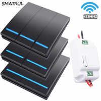 SMATRUL 1/2/3 gang 433Mhz smart push Drahtlose Schalter Licht RF Fernbedienung 110V 220V Empfänger Wand Panel taste Decke Lampe