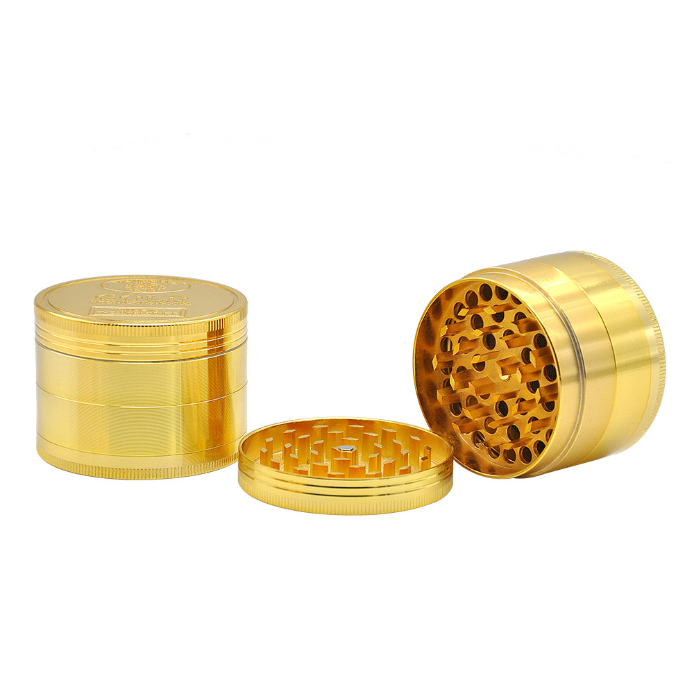 2 Size Available 4 Layers Dia.36mm/43mm Gold Zinc Alloy Metal Herb Grinder spice/tobacco Crusher Tobacco Spice Hand Muller 5