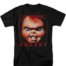Summer 2019 Short Sleeve  Childs Play Mens Black Horror Movie Chucky T-shirt