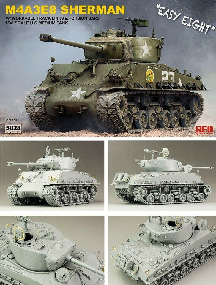 RFMRM5028 1:35 Rye Field Model M4A3E8 Sherman Easy Eight with Workable Track Links /& Torsion Bars Model Building KIT