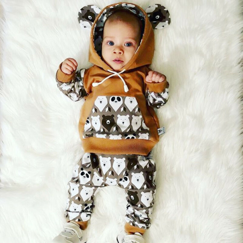 2PCS Newborn Baby Girl Boy 0-24M Tracksuit Clothes Hooded Top + Long Pants Outfits