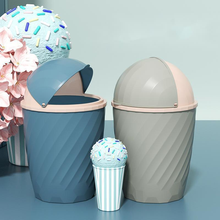2021 Ice Cream Dustbin With Half Rocking Lid Household Living Room Creative Lovely Bedroom Kitchen Accessories Toilet Trash Bin