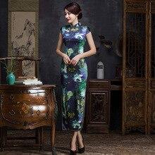 2019 e vestuário feminino qipao vestido moda impressão cultivar moralidade manga curta colar seda longo cheongsam fabricantes
