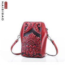 NAiSIBAO 2019 New women Genuine Leather bag fashion cowhide embossed handbags women famous brand crossbody bags for women genuine leather bags women real leather famous brand full grain leather cowhide women s messenger embossed bag high quality lady