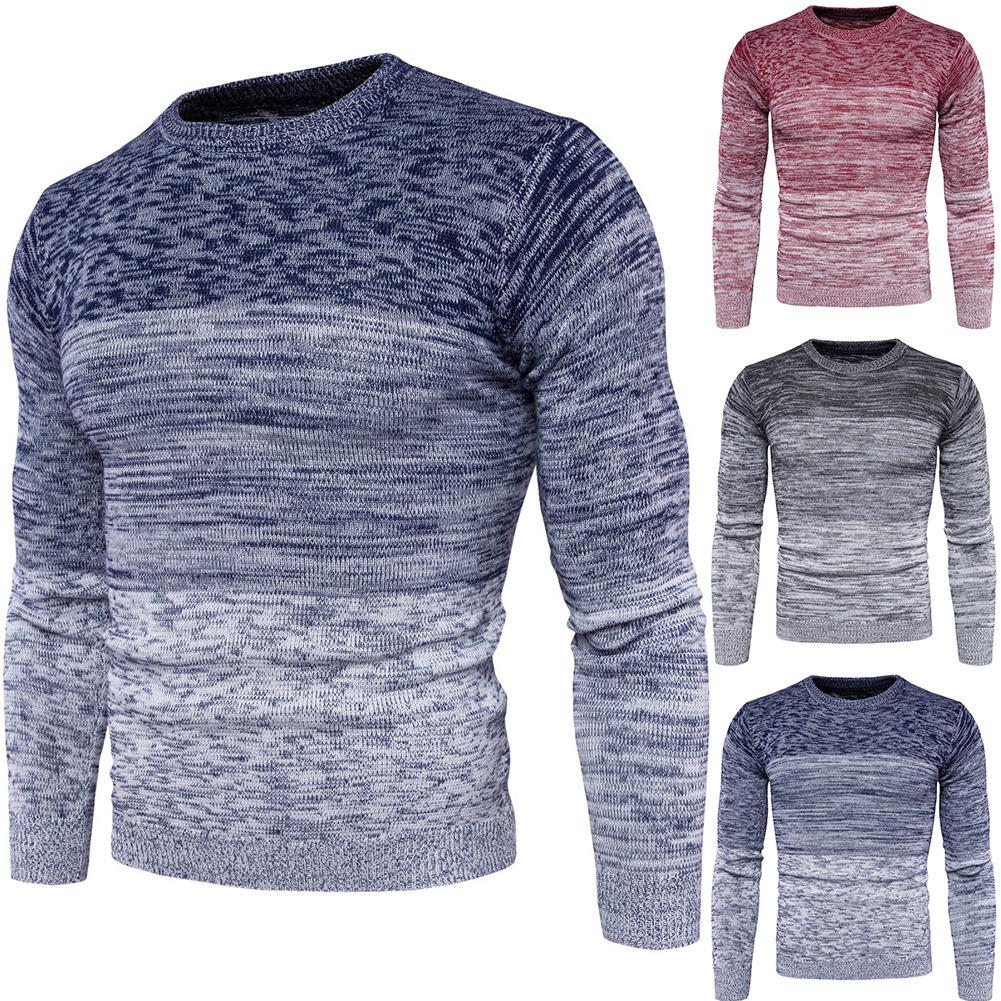 2020 Gradient Color Print O Neck Knitted Sweate Men Pullover New Casual Sweater Men Autumn Winter Casual Long Sleeve Sweaters