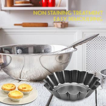 High Temperature Resistant Nonstick Coating Egg Filling Mold Steel Mini Pie Baking Cup Biscuit Lining Mold Tin Baking Tool image