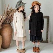 幼児ガールセーターベビーセーター 2020 秋子供汗トップスとスカート子供服セット幼児かわいい衣装ニット、 #3725
