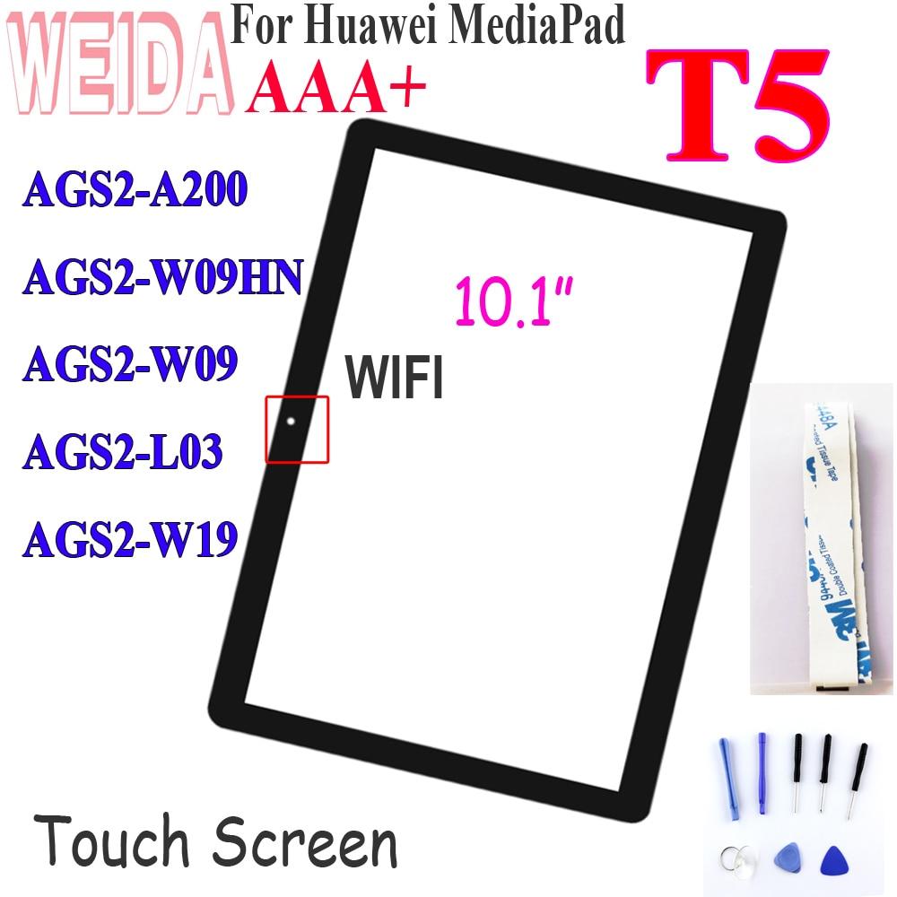 10.1 인치 화웨이 mediapad t5 AGS2 W09HN 터치 스크린 전면 블랙 유리 렌즈 패널 l09 AGS2 W09 AGS2 L03 AGS2 W19 터치 스크린-에서테블릿 LCD & 패널부터 컴퓨터 및 사무용품 의