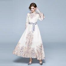 Женское длинное платье с цветочным принтом ажурное модельное