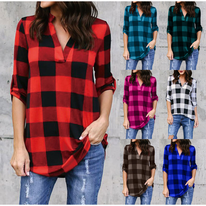 Plaid Women's Vintage Blouses Plus Size 5XL Check Top V Neck Long Sleeve Female Tops 2020 Spring Summer Loose Casual Lady Blouse