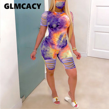 Women Ripped Loose Summer Sets O Neck Tie Dye Printed Short Sleeve Top