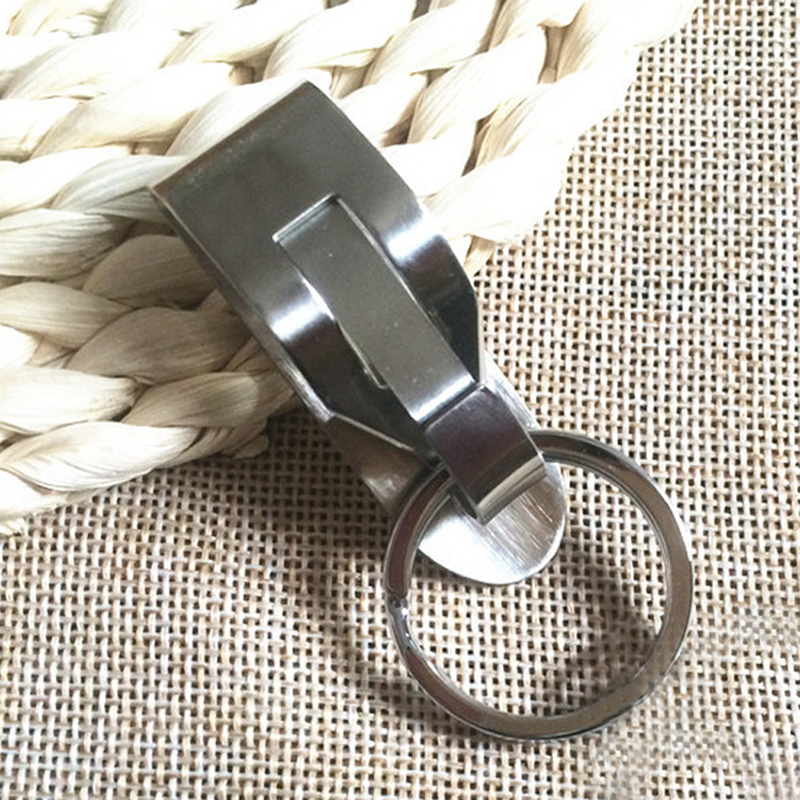 Useful Belt Clip Quick Release Buckle Key Rings Unisex Fashion Stainless Steel Trinkets Snap Holder Silver Keychain