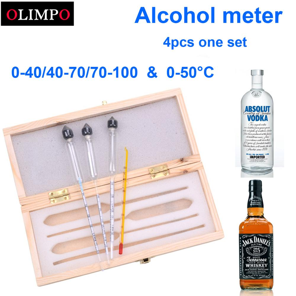 3pcs/set Alcoholometer Alcohol Meter Wine Meter Measuring Alcohol Instrument Concentration Meter Whisky Wooden Box