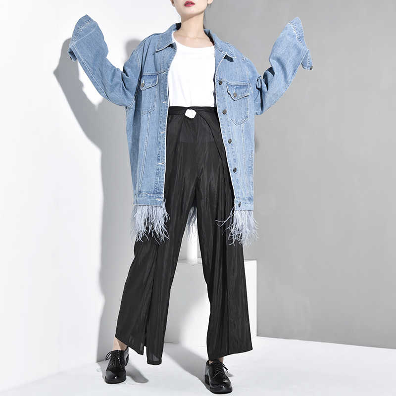 [EAM] 2019 New Autumn Winter Lapel Long Sleeve Blue Denim Feather Split Joint Big Size Jacket Women Coat Fashion Tide JW8320
