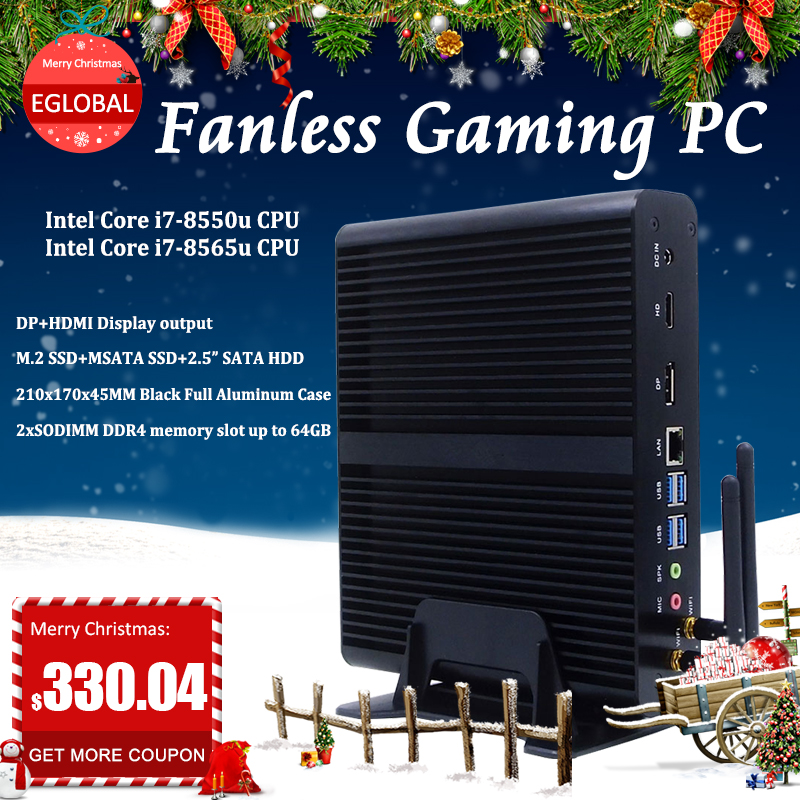 Rich Ports Mini Gaming PC Core I7-8550U Low Power PC Desktop Fanless System Mini Computer Without Cooling Fan