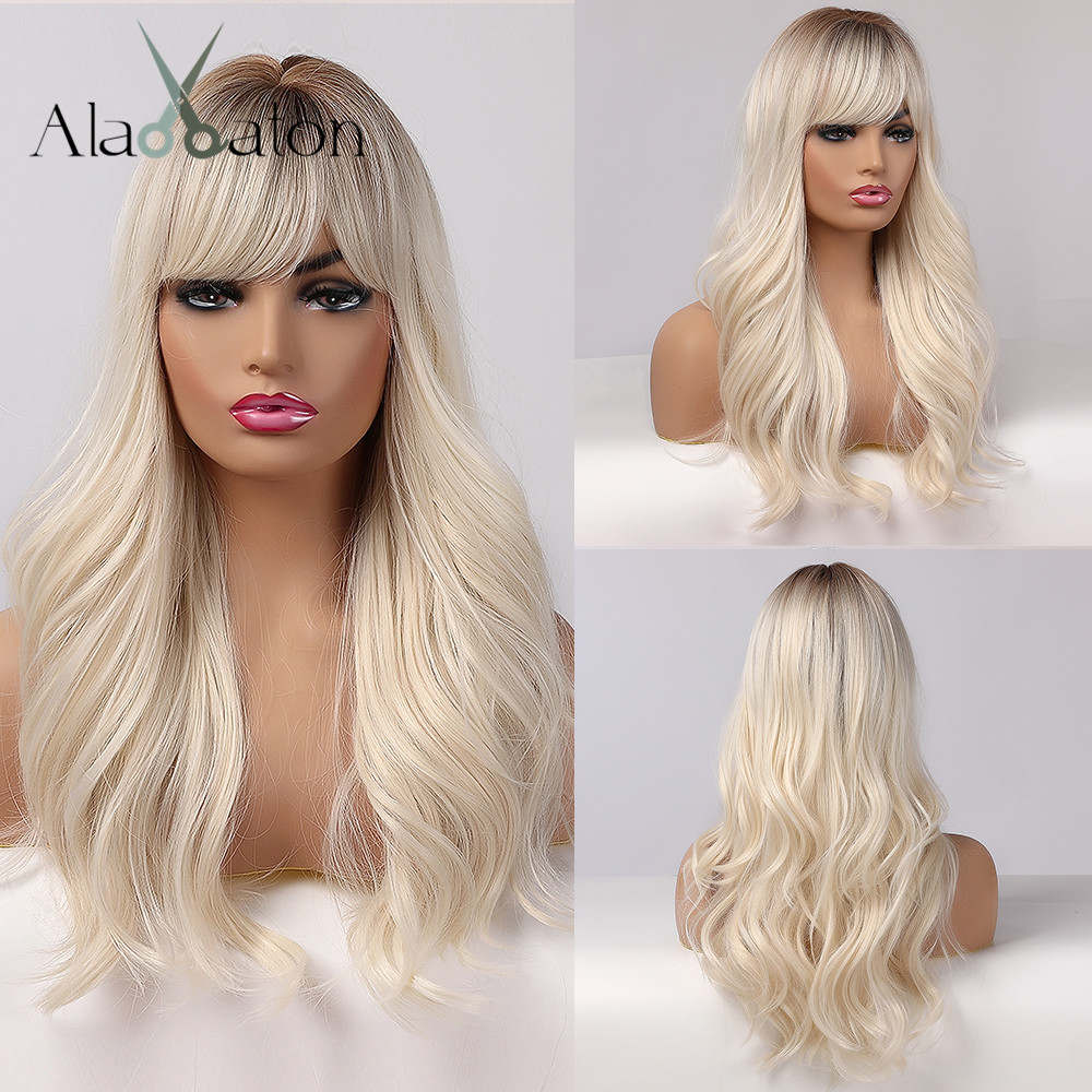 ALAN EATON Long Womens Wigs with Bangs Ombre Brown Platinum Blonde Wigs Side Part Synthetic Wavy Wigs for African American Women
