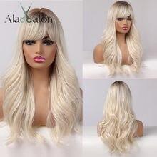 ALAN EATON longues femmes perruques avec frange Ombre brun platine Blonde perruques partie latérale synthétique ondulé perruques pour les femmes afro-américaines