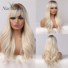 Womens Wigs Bangs Side-Part Platinum Blonde Brown Alan Eaton African American Synthetic