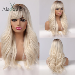 ALAN EATON Long Womens Wigs with Bangs Ombre Brown Platinum Blonde Wigs Side Part Synthetic Wavy Wigs for African American Women(China)