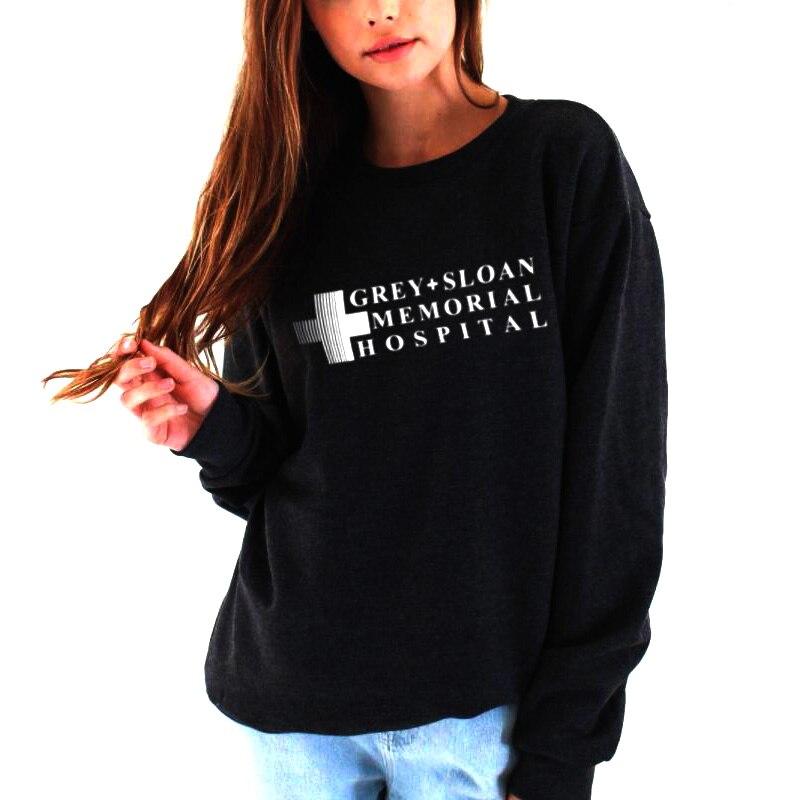 Sweatshirt Grey Sloan Memorial Hospital Hoodie Women Casual Long-Sleeved Pullovers Hoodies Grey'S Anatomy
